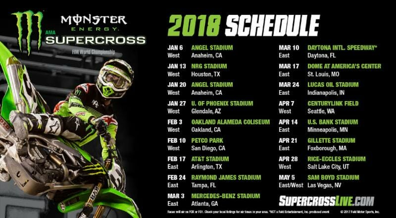 2018 Supercross Schedule Announced - Cycle News