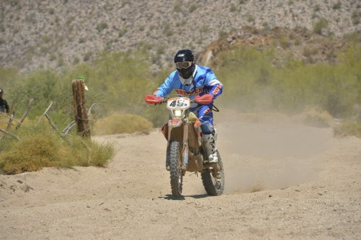 After several years of trying, Francisco Arredondo and teammates Shane Esposito, Justin Morgan and Roberto Villalobos enjoyed a trouble-free day to get their first overall SCORE Baja motorcycle victory.