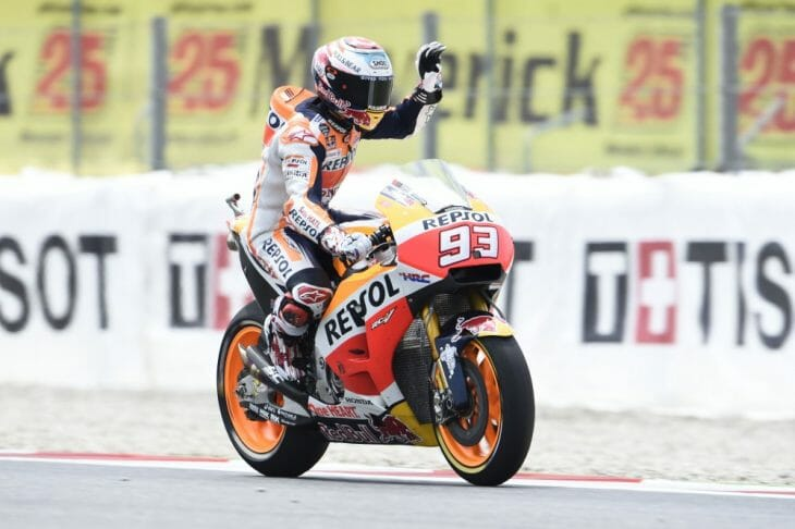 Marc Marquez fires opening salvo at Catalunya, fastest Friday aboard his Repsol Honda.