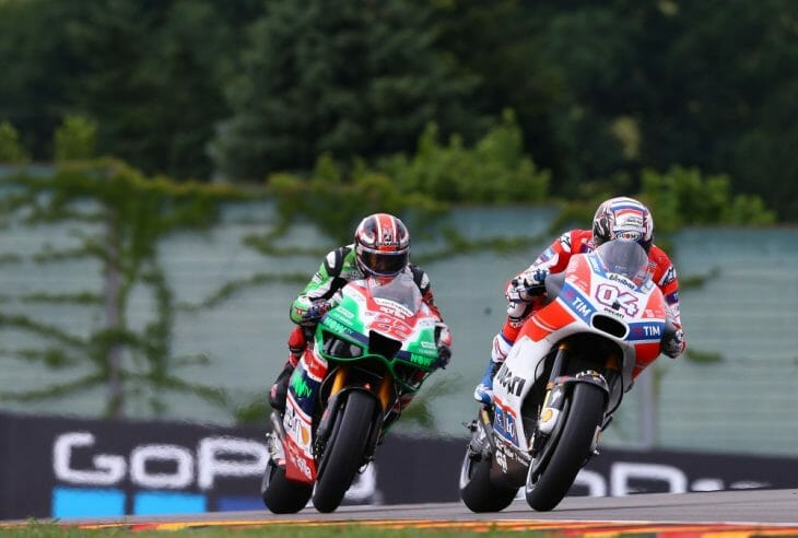 Andrea Dovizioso clocked the best time Friday in German MotoGP action at the Sachsenring.