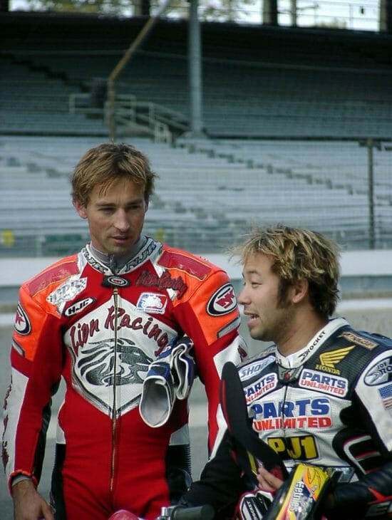 In 2003 Vincent Haskovec and Jake Zemke were the first riders to run racing motorcycles at the Indianapolis Motor Speedway in nearly a century. (Larry Lawrence photo)