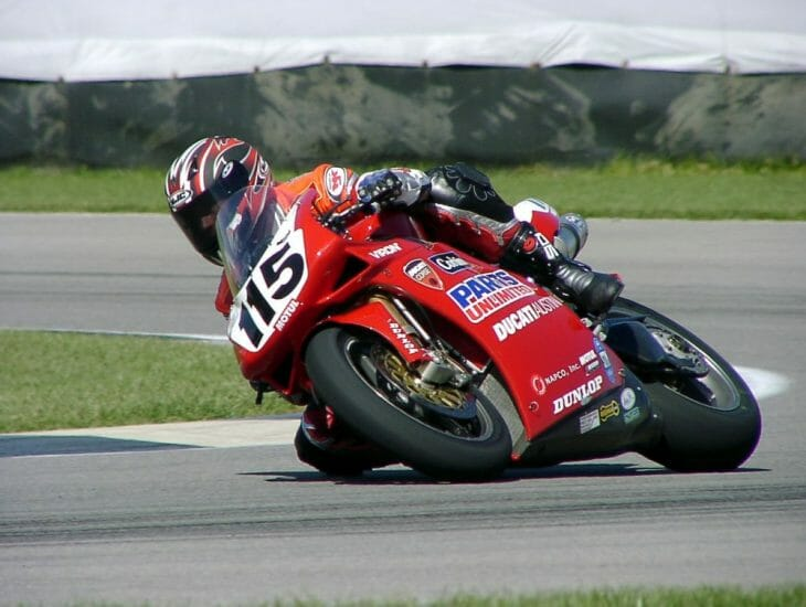 Vincent Haskovec on the track at Indy in 2003.