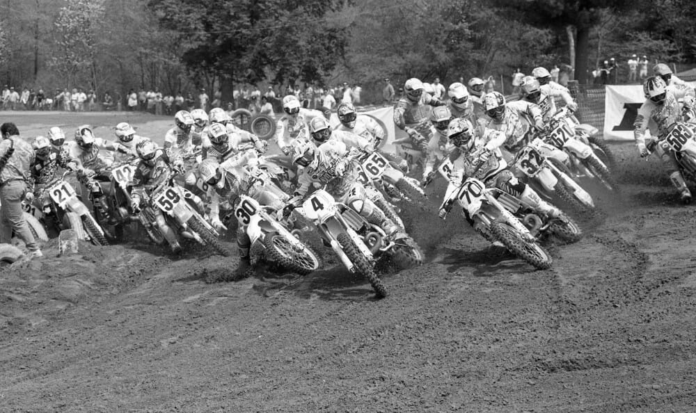 At mid-year 25 years ago It looked like a teenaged Damon Bradshaw (4) might steal the AMA 250cc Motocross Championship, but it wasn't to be. (Henny Ray Abrams photo)