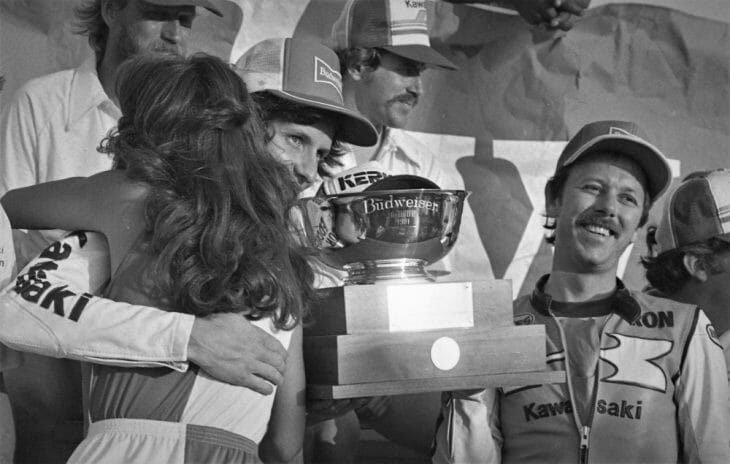 Eddie Lawson and Ron Pierce are all smiles after winning the 1981 AFM Six-Hour on a factory Kawasaki Superbike.