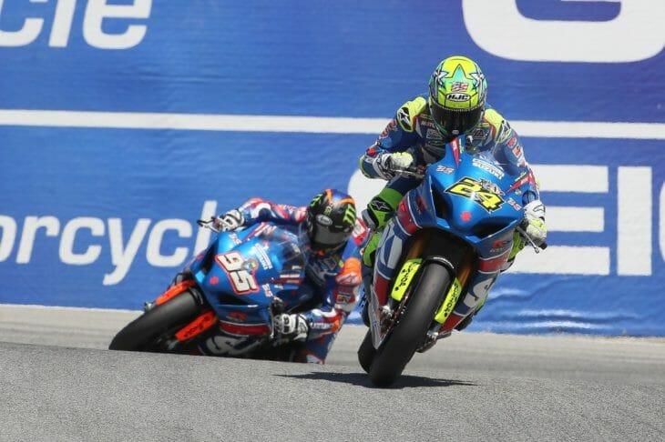 Toni Elias and Roger Hayden went 1-2 in both MotoAmerica Superbike races at Laguna Seca aboard their Yoshimura Suzuki GSX-R1000 Superbikes