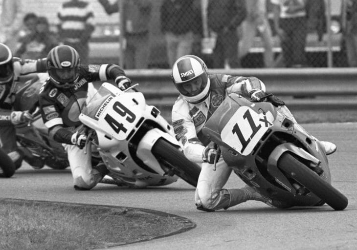 Paul Bray leads the 1988 Daytona 600 Supersport race over John Ashmead and Gary Goodfellow.