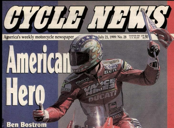 Cover version - Ben Bostrom's career took off after winning a World Superbike round at Laguna Seca in 1999 as a wildcard.