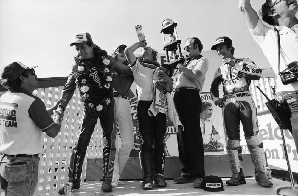 Steve Morehead gets a handshake after winning the Harrington (Delaware) AMA Grand National in 1981.