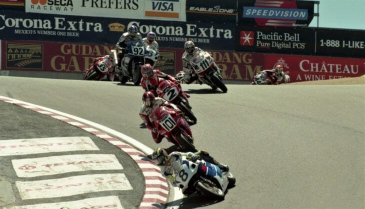 World Superbike action at Laguna Seca in 1998, which brought together the top WSBK and AMA Superbike riders.