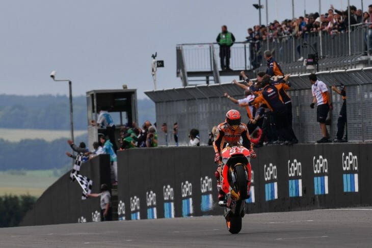 Marc Marquez taking victory in the 2017 MotoGP at the Sachsenring in Germany