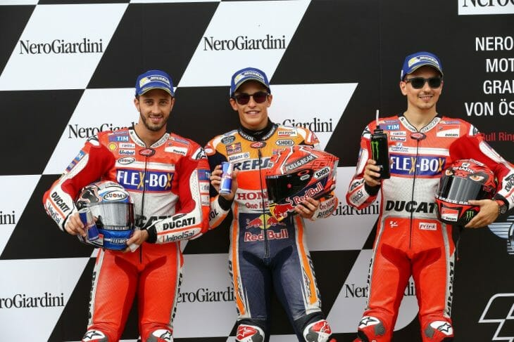 The front row for the Austrian MotoGP with Marc Marquez on the Pole