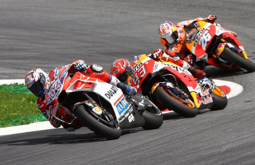 Andrea Dovizioso beat Marc Marquez and Dani Pedrosa at the Red Bull Ring
