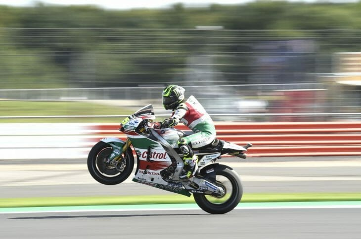 Cal Crutchlow led the way in MotoGP's opening day at Silverstone.