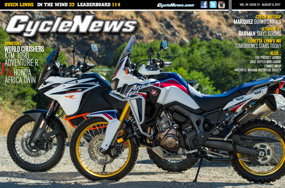 cycle news magazine 31 ktm 1090 adventure r vs honda. Black Bedroom Furniture Sets. Home Design Ideas