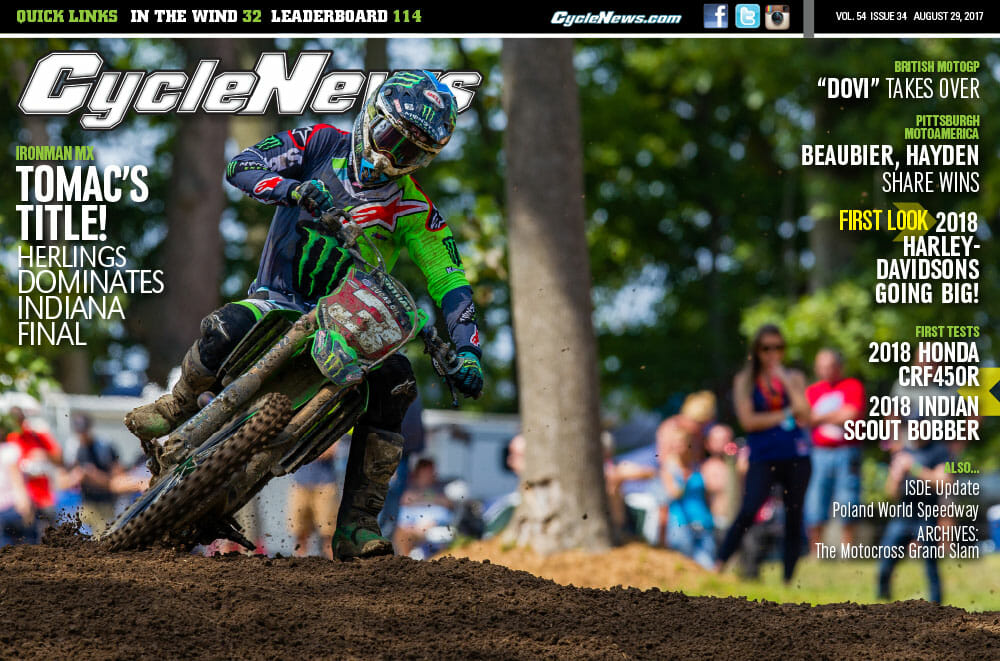 Cycle News Magazine #34: Indiana MX Final, Silverstone MotoGP, Pittsburgh MotoAmerica, New Harleys...