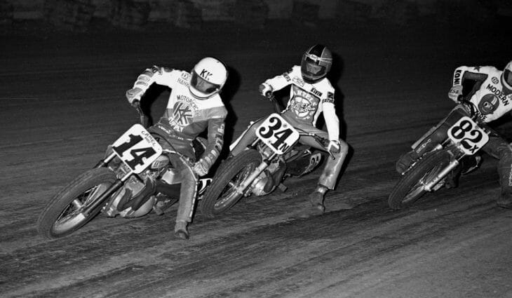 Kevin Schwantz picture in a rare shot of him racing in ama grand national dirt track action