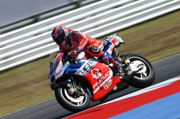 Danilo Petrucci (Octo Pramac Racing) stole the headlines on Day 1 at the Gran Premio Tribul Mastercard di San Marino e della Riviera di Rimini, taking to the top late on in the final stages of FP2 as a top ten shootout got underway.