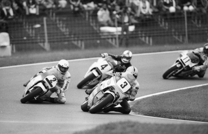 Joey Dunlop leads the pack in Formula 1 TT action at Assen in 1987.