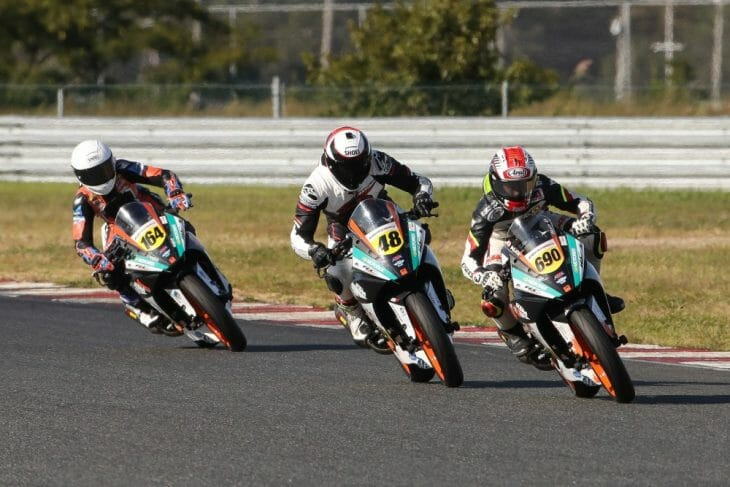 Dumas (690) emerged victorious following a captivating three-rider battle in the KTM RC Cup. Photo: Brian J. Nelson