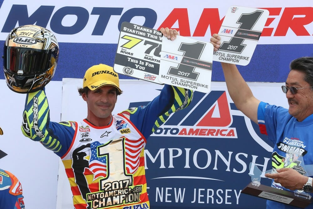 Toni Elias clinched the 2017 MotoAmerica Superbike title with a win in race 1 at New Jersey Motorsports Park