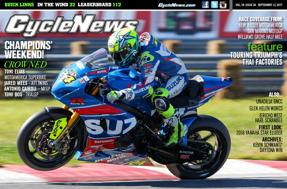 Cycle News Magazine #36: N.J. MotoAmerica, Misano MotoGP, Williams Grove HM....