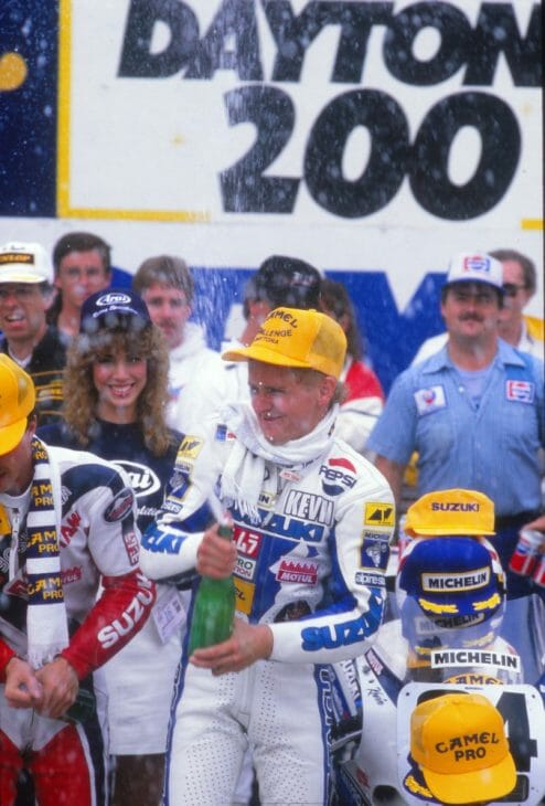 Kevin Schwantz won the 1988 Daytona 200, giving Suzuki its first victory in the event and allowing Schwantz to end his AMA Superbike career with a win. (Henny Ray Abrams photo)