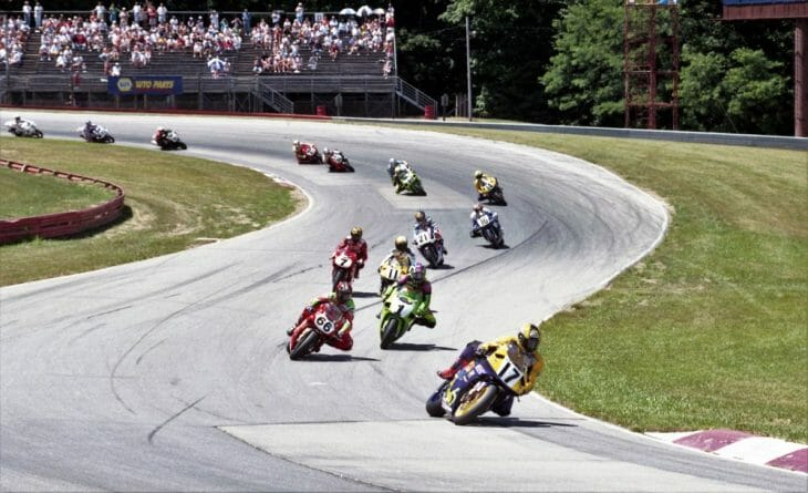 American Honda's Miguel Duhamel leads a deep field of talented riders in the AMA Superbike race at the Mid-Ohio Sports Car Course in July of 1997.
