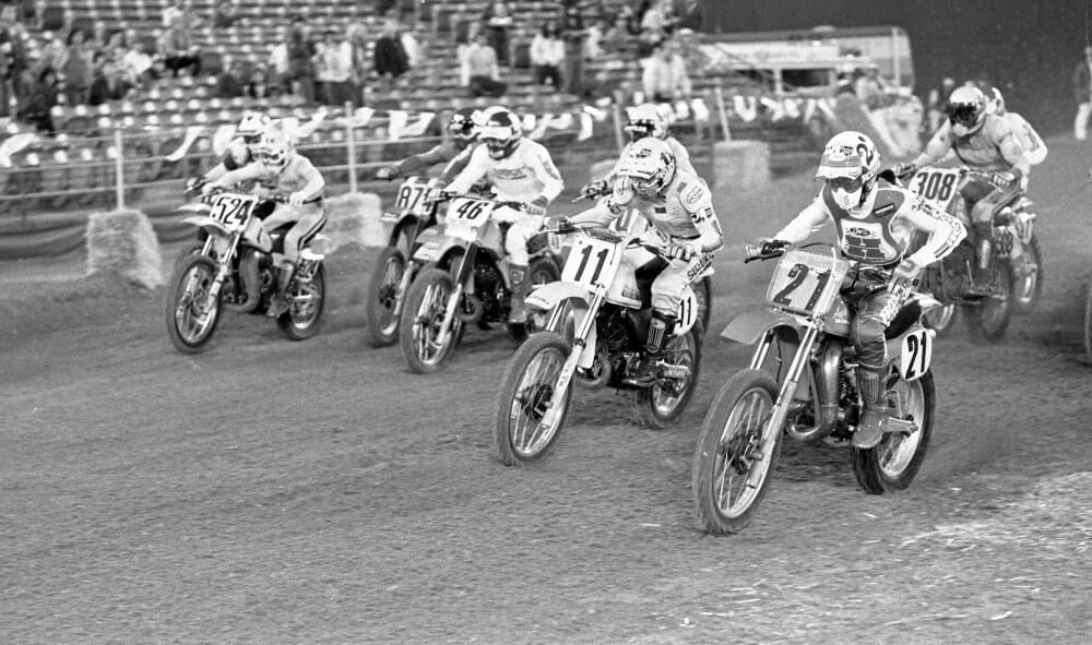 "Honda factory rider Donnie ""Holeshot"" Hansen (21) lives up to his nickname as he nails the holeshot in one of the Heat races during the 1981 San Diego Supercross."