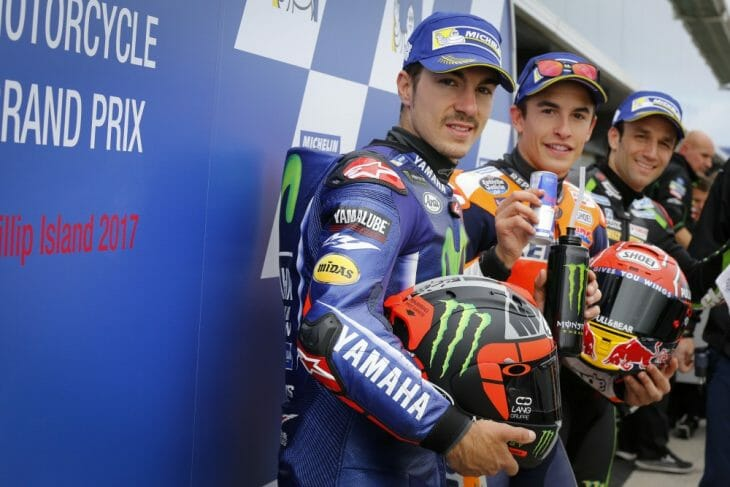 The front-row qualifiers for the 2017 Australian Motorcycle Grand Prix