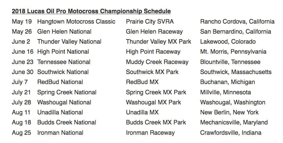 2018 Lucas Oil AMA Pro Motocross Schedule
