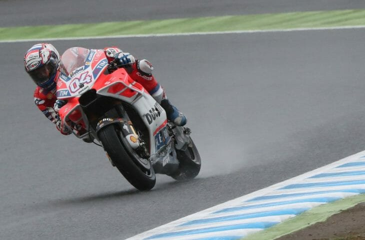 Andrea Dovizioso emerged the leader on day one at a wet Motegi. (Gold & Goose photo)