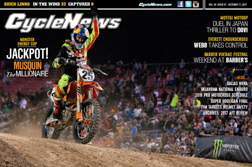Cycle News Magazine #41: Monster Energy Cup, Japan MotoGP, Barber Vintage Classic...