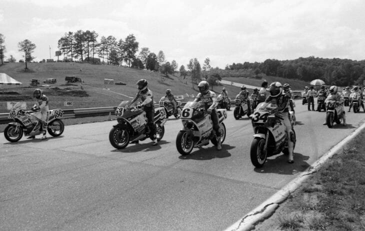 Riders line up on the grid for the start of the Road Atlanta AMA Superbike race in May of 1987. The race was won by Honda's Wayne Rainey (No. 6) over Kevin Schwantz (No. 34) and Bubba Shobert. (Larry Lawrence photo)