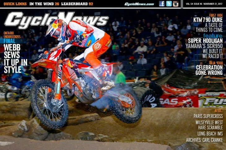 Cycle News Magazine #46: Ontario EnduroCross Final, Baja 1000, KTM 750 Duke Preview...