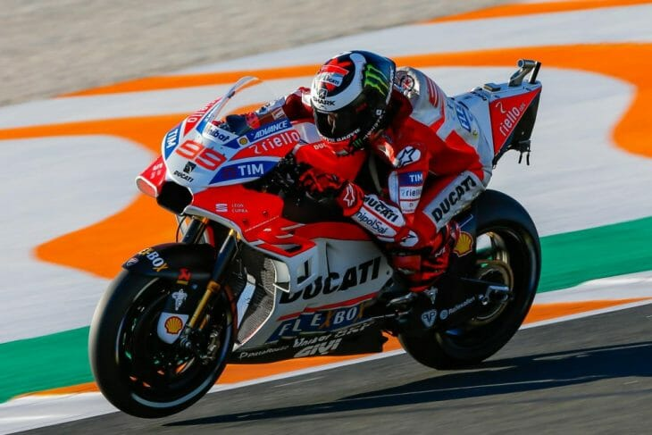 Jorge Lorenzo topped the charts on Friday at Valencia aboard his factory Ducati.