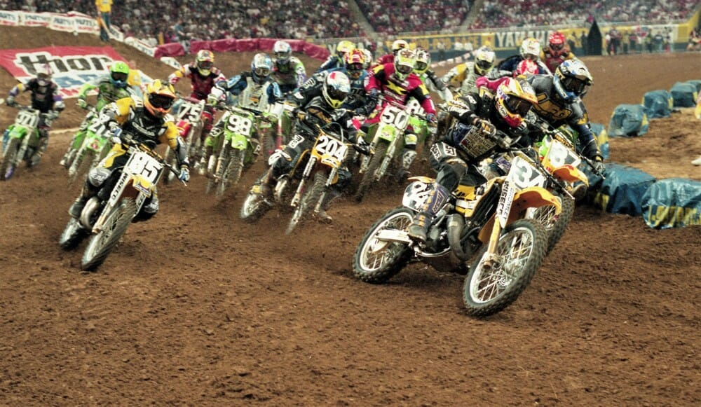 Barry Carsten takes the holeshot in the AMA 125cc East Supercross race in St. Louis in 1997