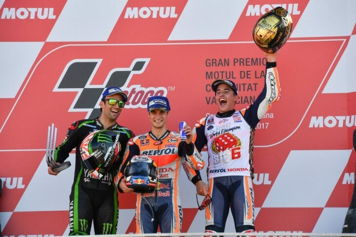 MotoGP podium: Zarco, Pedrosa and Marquez