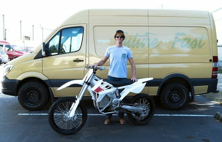 Ty Tremaine poses with the Alta Redshift MX Electric bike. He will aim to prove that the electric bike can compete with internal combustion engines in 2018.