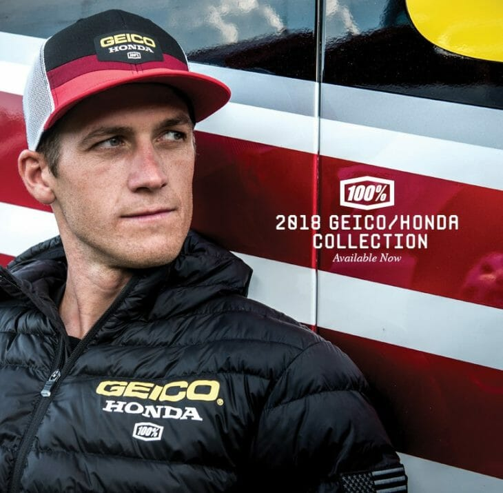 100 Percent Is The Official Team Wear of GEICO Honda
