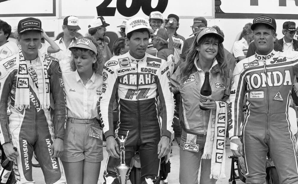 The podium of the 1986 Daytona 200won by Eddie Lawson
