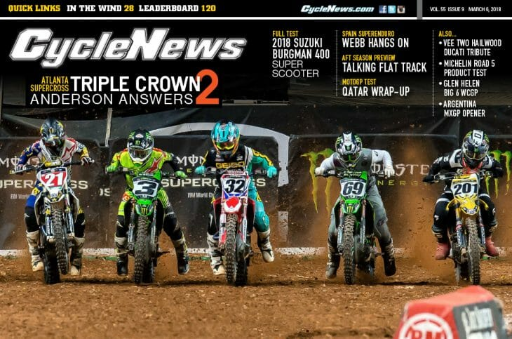 Cycle News Magazine #9: Atlanta Supercross, AFT Preview, Suzuki Burgman 400 Test...
