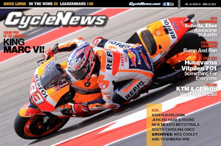 Cycle News Magazine #16: COTA MotoGP, Foxborough Supercross, Husqvarna Vitpilen 701 Test...
