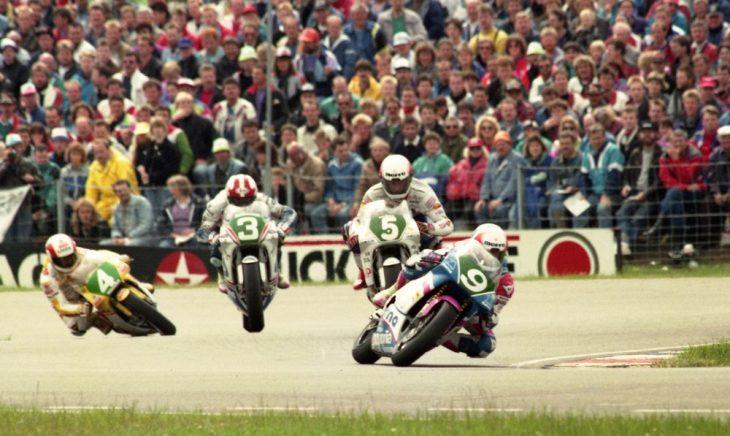 Frankie Chili leading the Dutch TT  250cc Grand Prix in 1991.