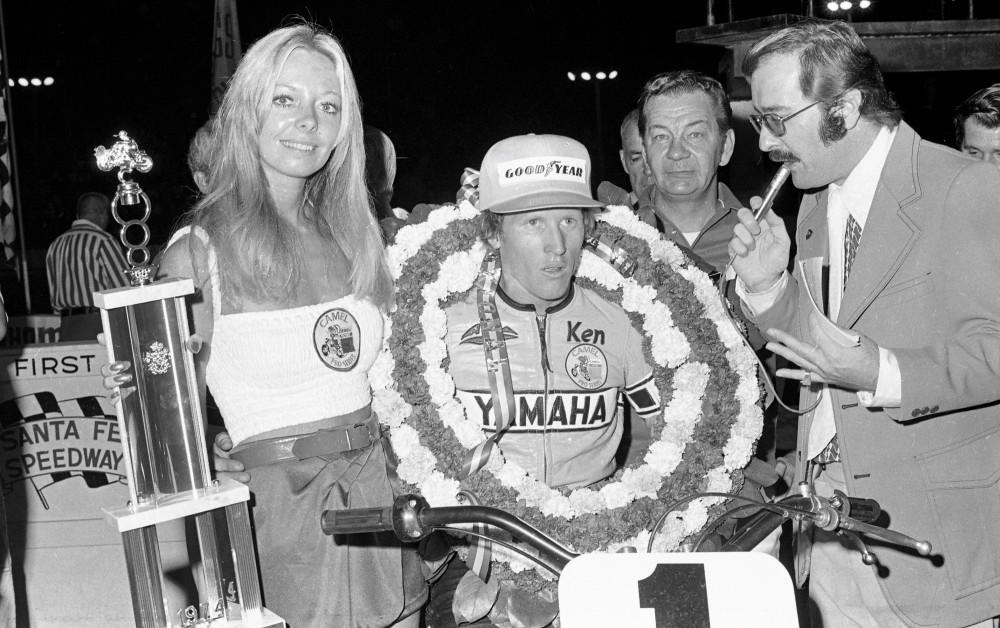 Kenny Roberts wins 1974 Santa Fe short Track National