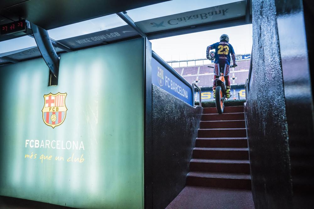 Toni Bou visit Camp Nou