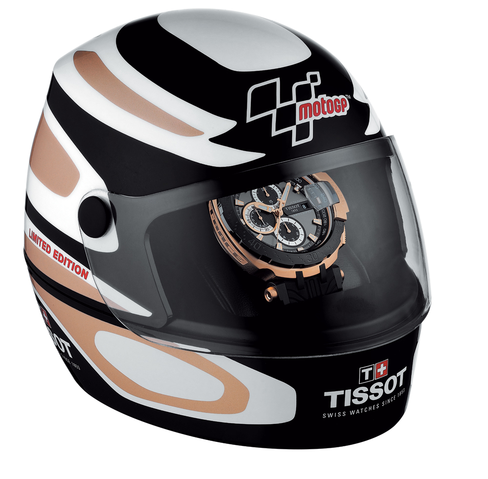 The Tissot T-Race watches come in helmet-presentation boxes.