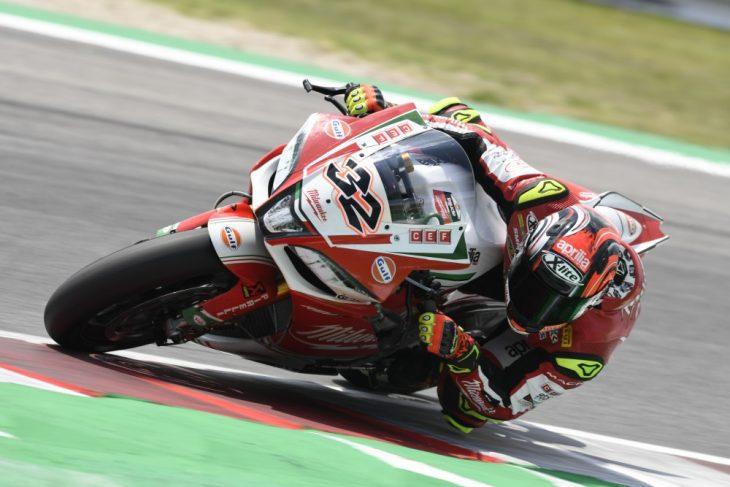 Lorenzo Savadori fastest in WorldSBK on Friday at Misano.