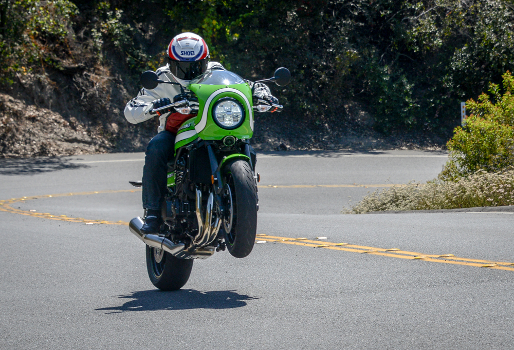 Traction control will mitigate this kind of behavior pretty quickly, but the Café will still pull the odd power wheelie.