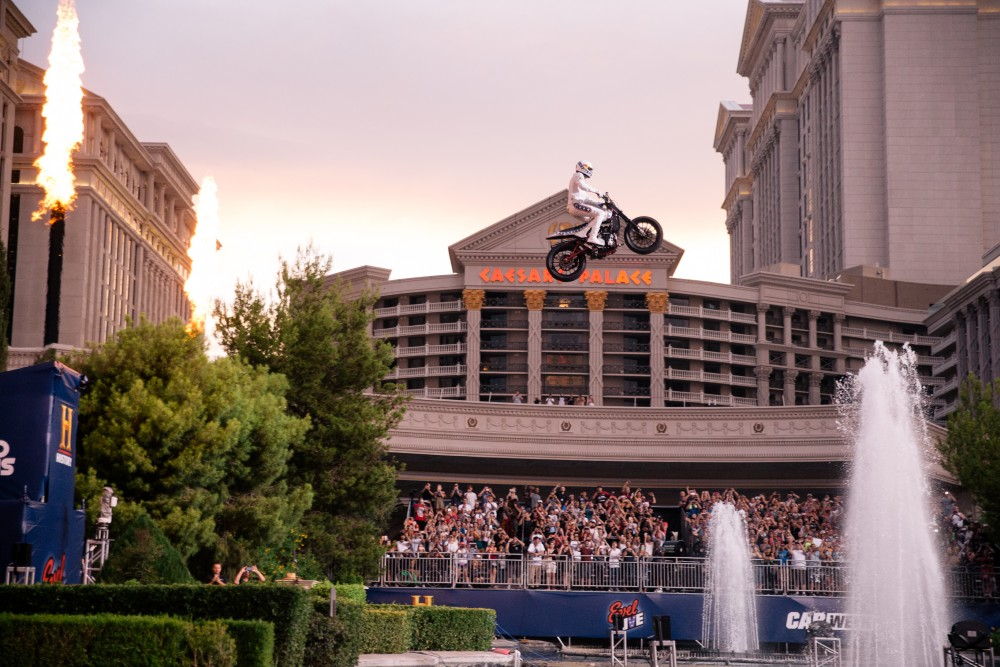 Travis Pastrana jumps Caesar Palace fountains.