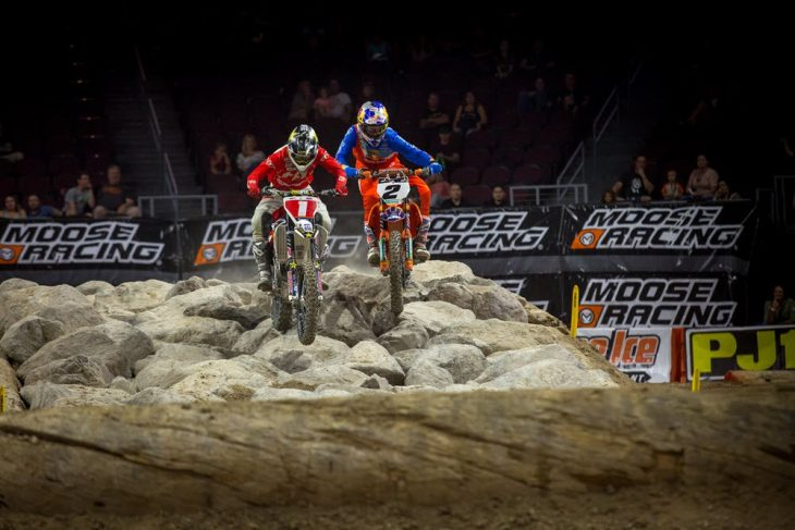 Cody Webb (2) and Colton Haaker (1) both use FMF exhaust and have won the last four EnduroCross championships (Webb in 2014, 2015 and 2017 and Haaker in 2016). The sparks will fly again when the 2018 series kicks off on August 25 in Arizona.
